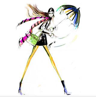 watercolour painting of a tall model short skirt holding an umbrella