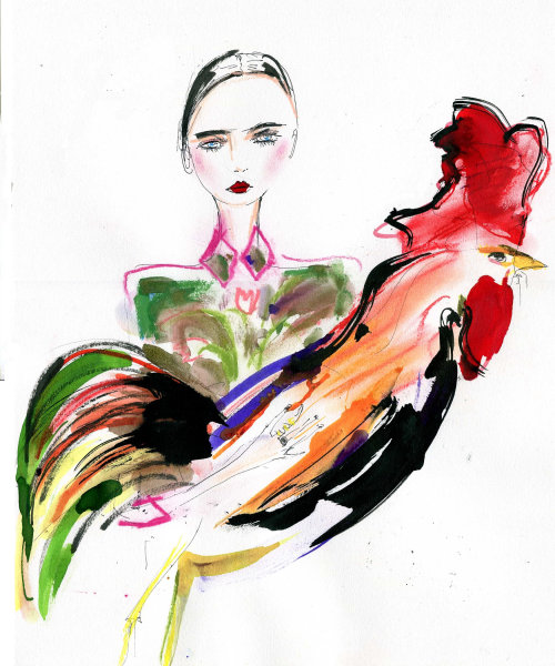 Colorful drawing of woman