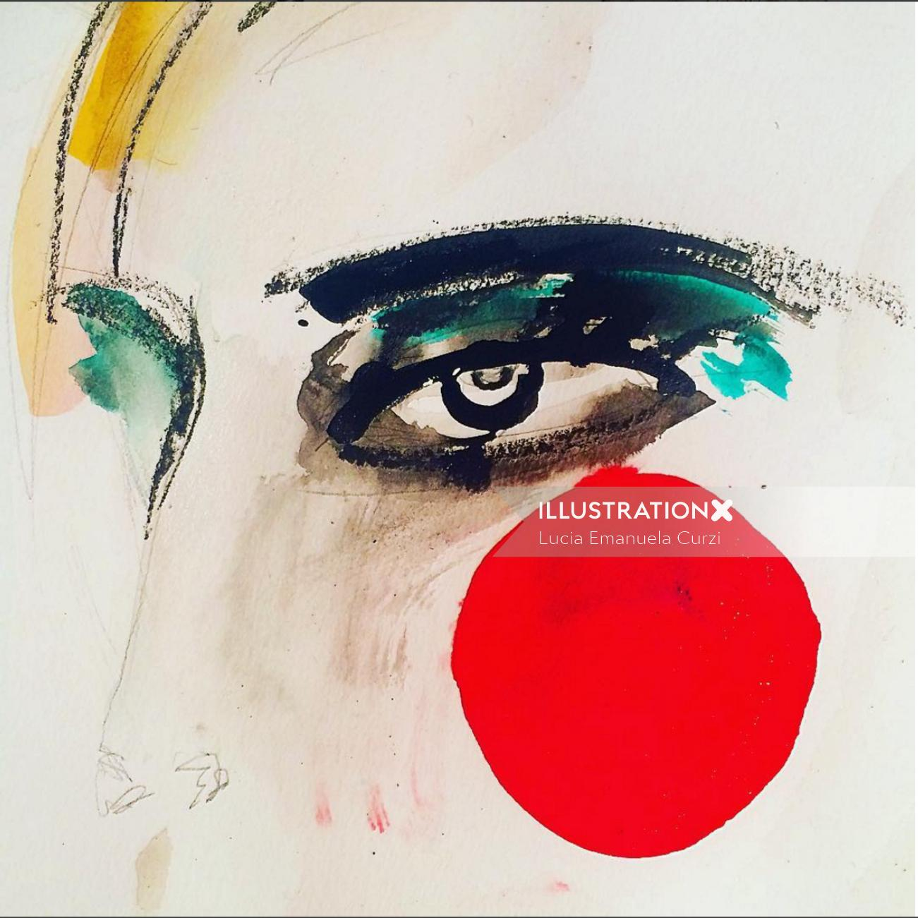 Beauty woman with red dot on face