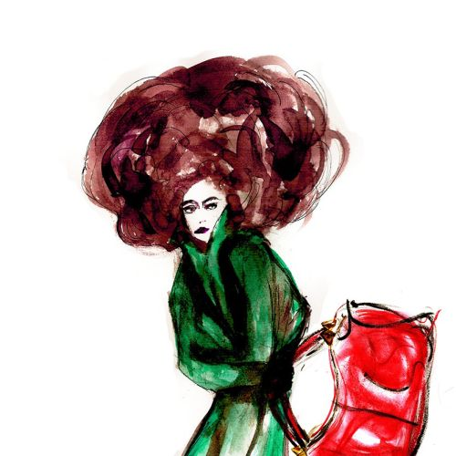 Fashion model with red bag