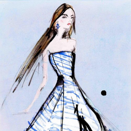 Fashion Blue white frock