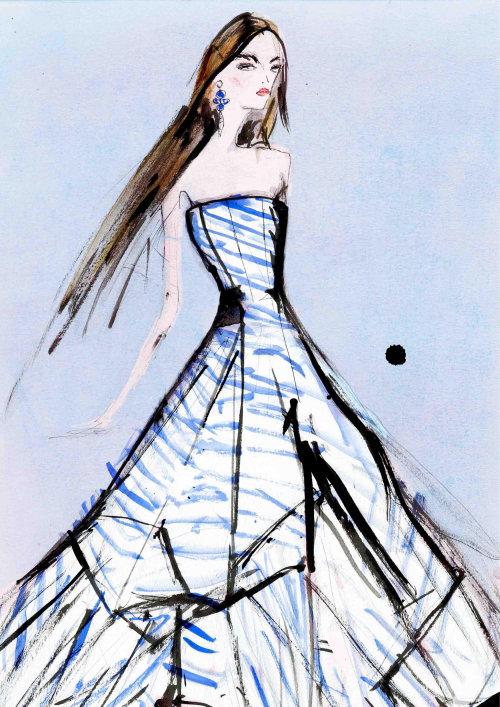 Fashion Blue white frock