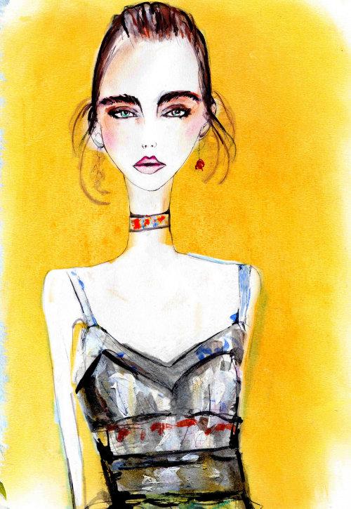 Fashion loose drawing of girl