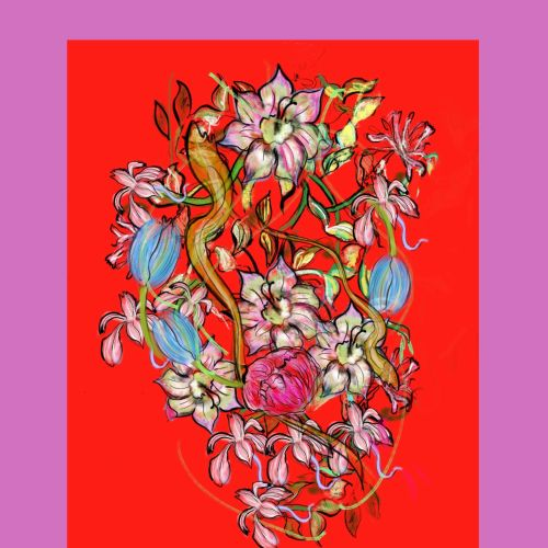 Colourful flowers decorative illustration