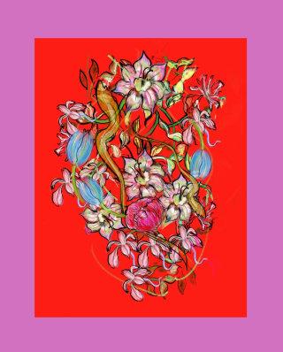 Colourful flowers decorative illustration