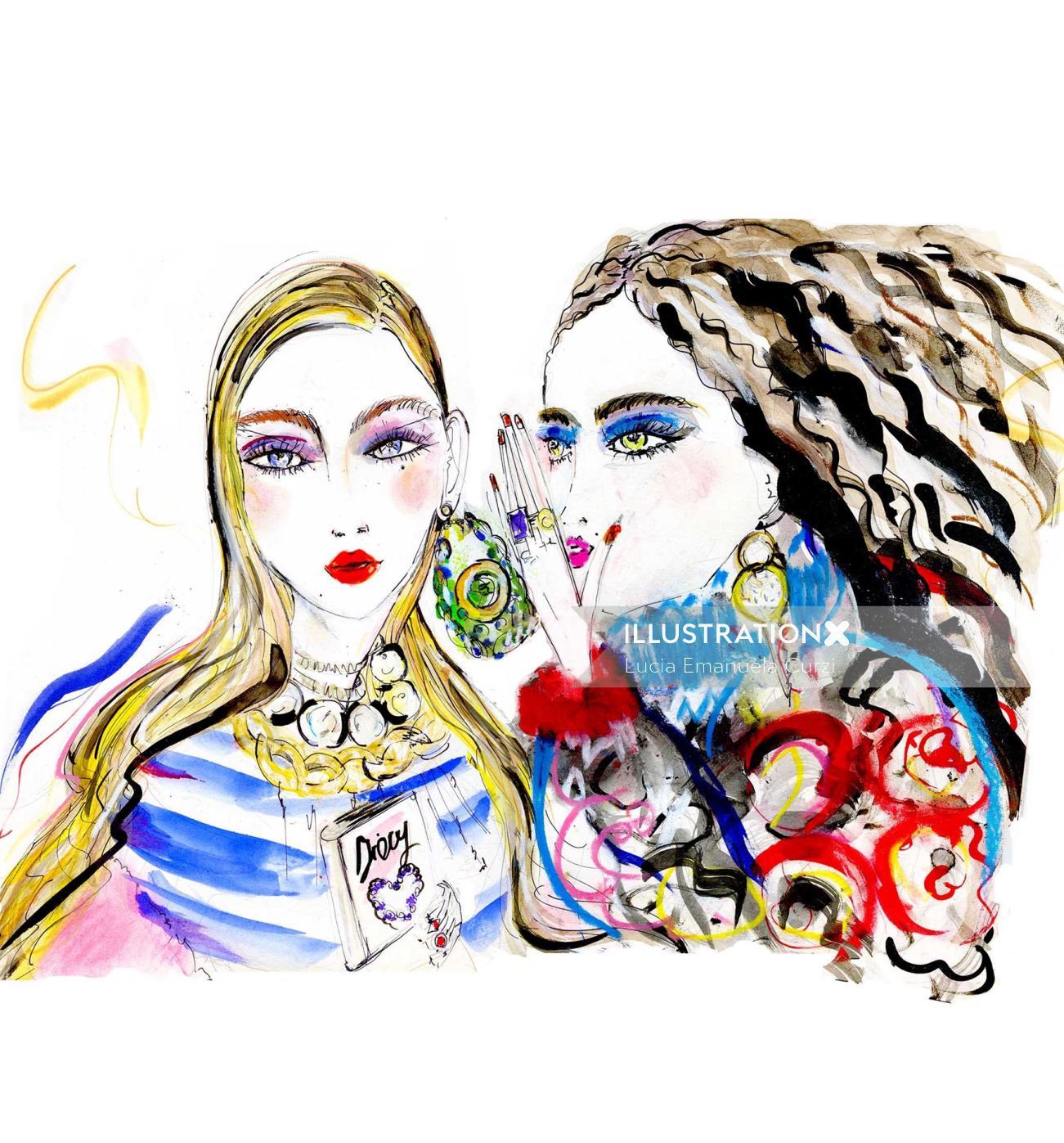 Jewellery drawing of women