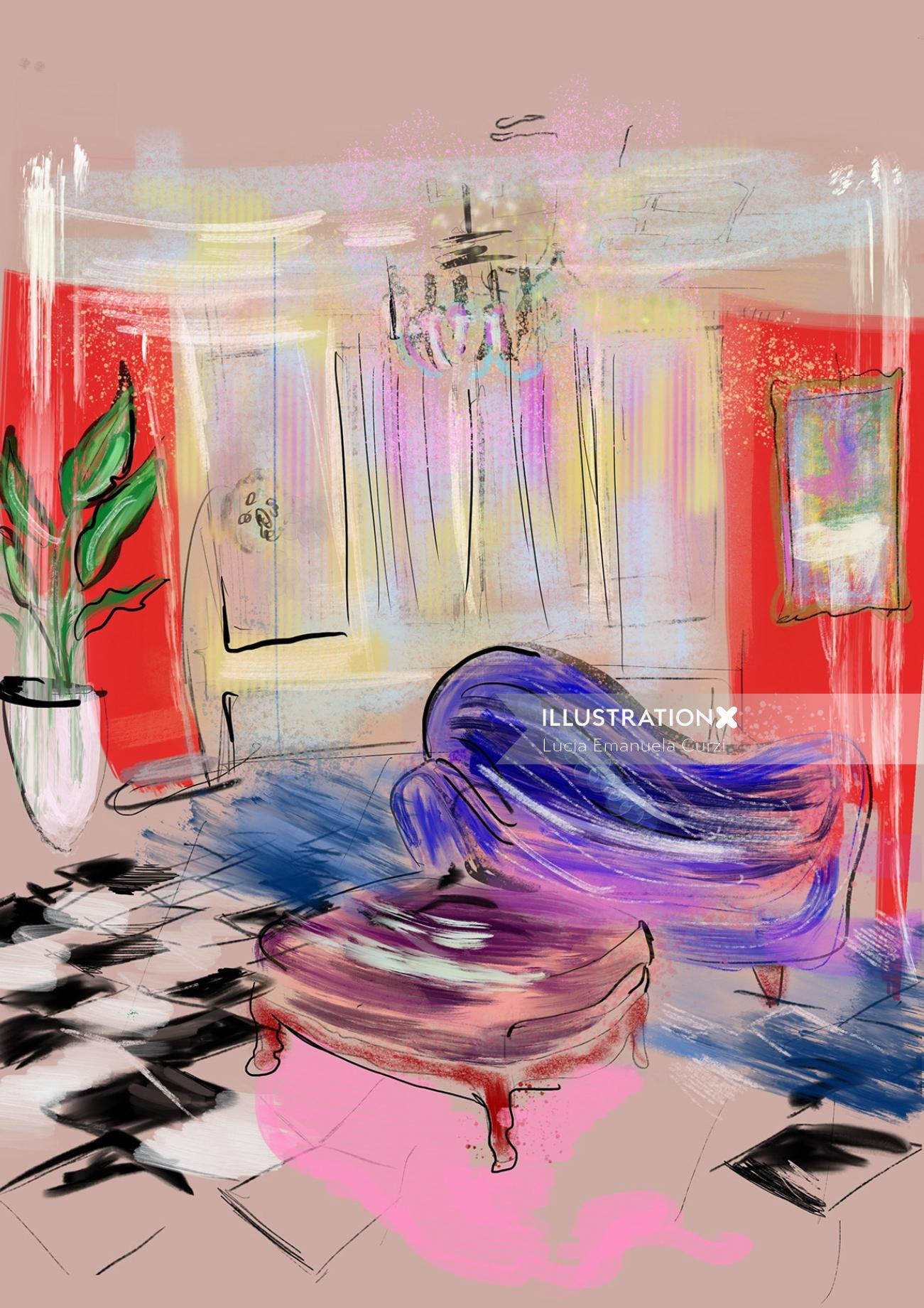 Architecture room decorative painting