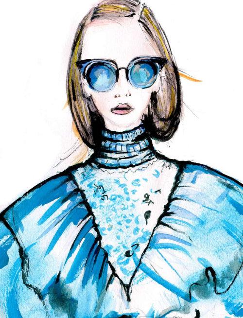 Editorial Fashion woman in blue