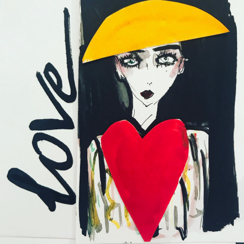 Contemporary loose art Love woman