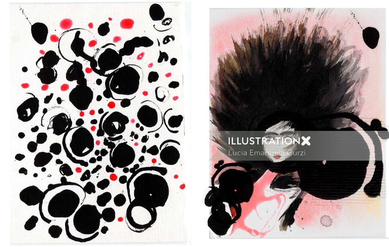 Black & White fashion painting