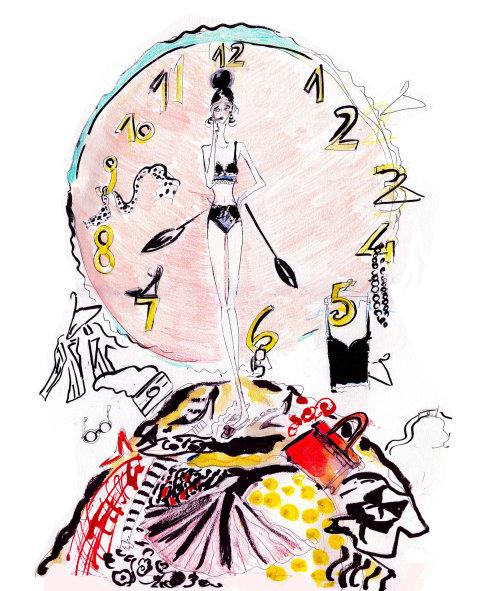 Editorial model walk clock