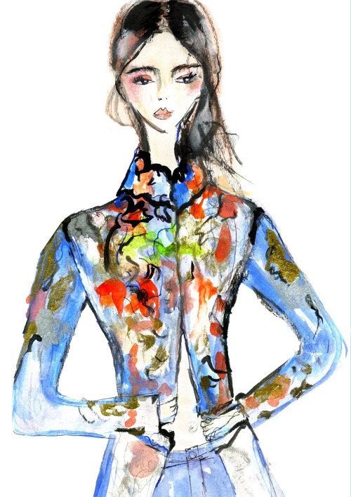 Editorial illustration of teen model