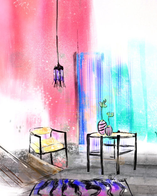 Colorful illustration of a room