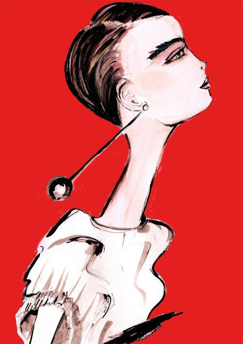 Fashion painting of a beautiful woman