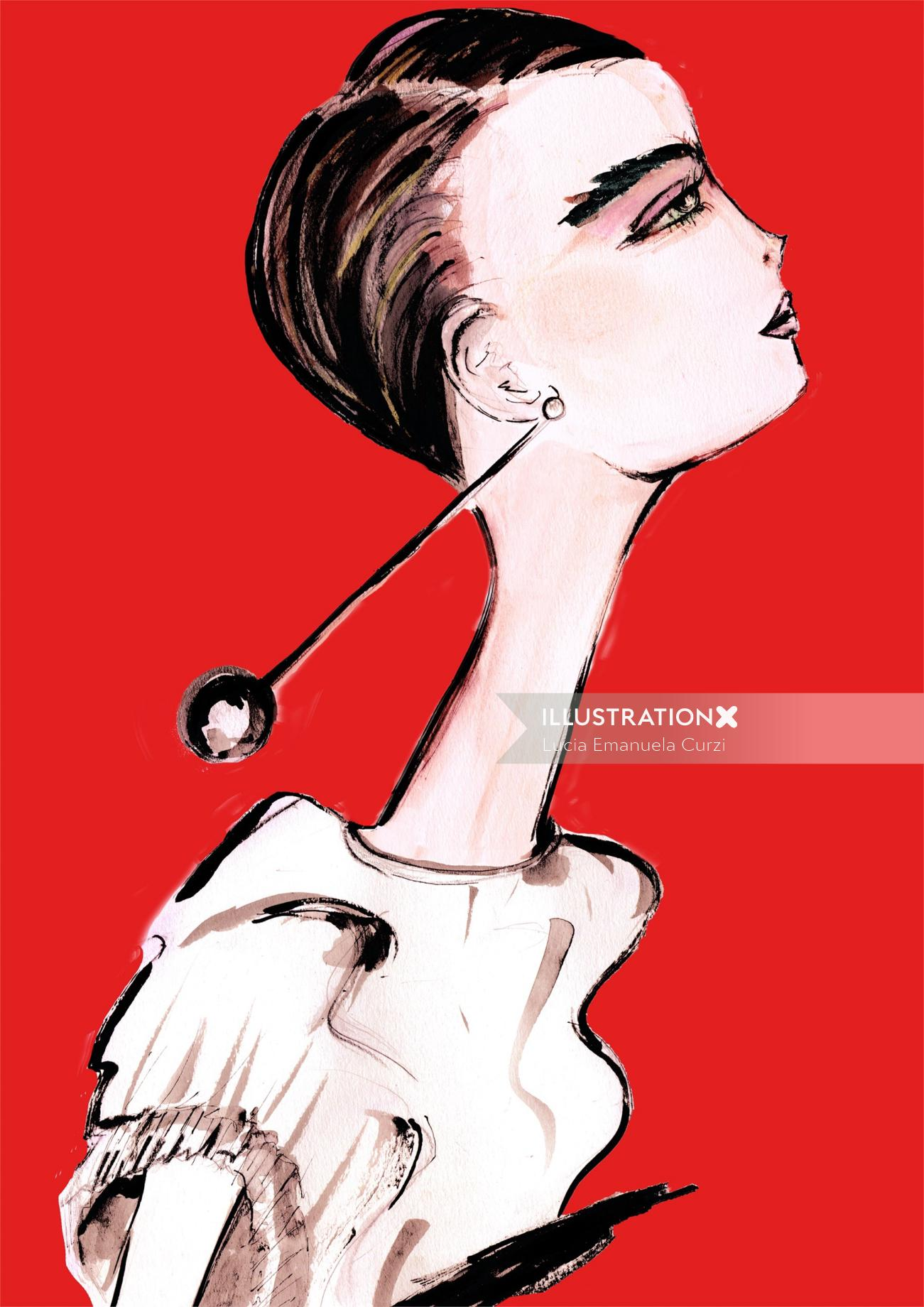 Fashion painting of a beautiful woman