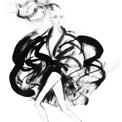 Fashion Black& White model drawing