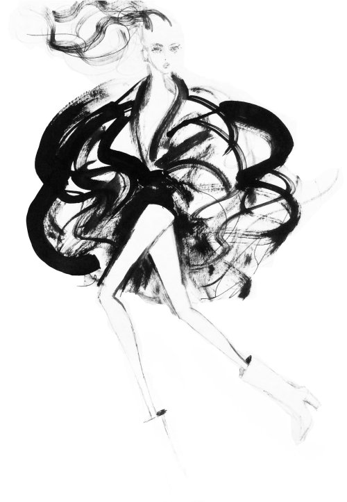 Fashion Black& White model drawing