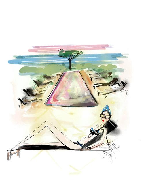 Lifestyle illustration of teen in bikini