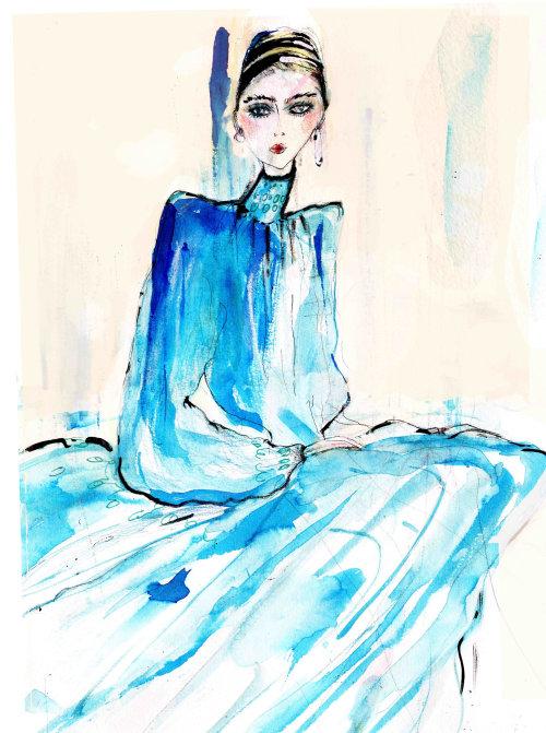 Loose illustration fashion model in blue