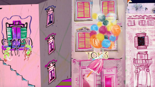 Colorful building illustrations
