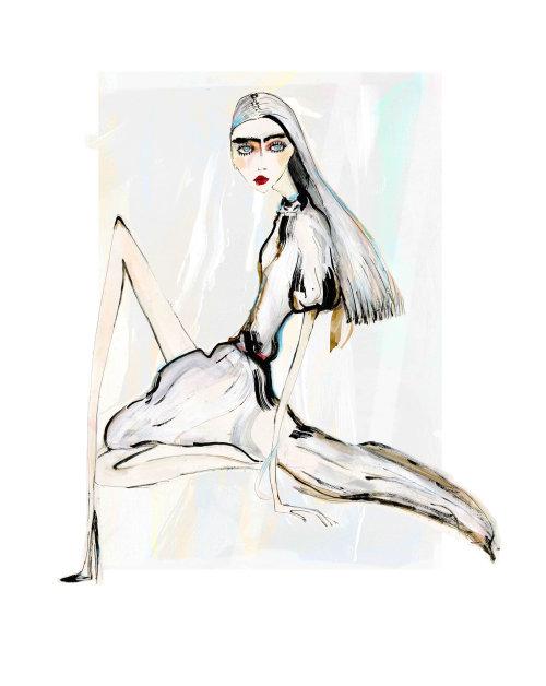 Fashion model line art