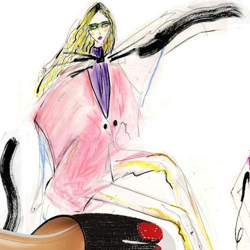 Fashion line drawings of teen models