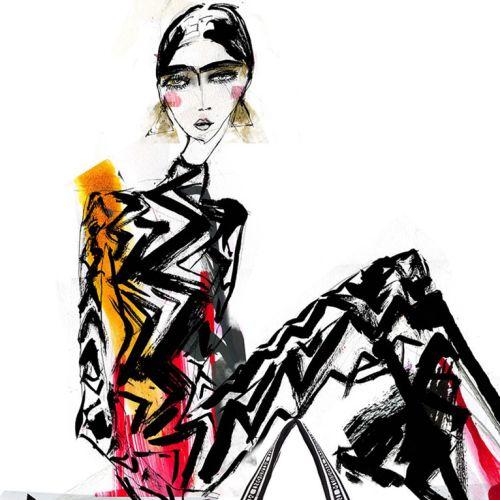 Fashion line art illustration of models
