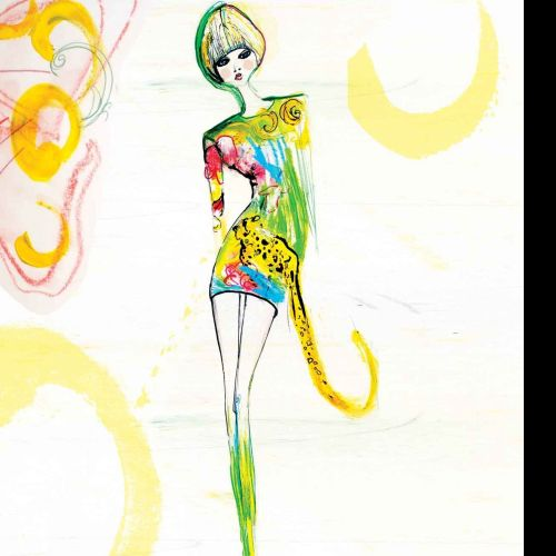 Handmade model fashion illustration