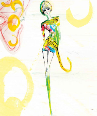 Handmade model fashion illustration