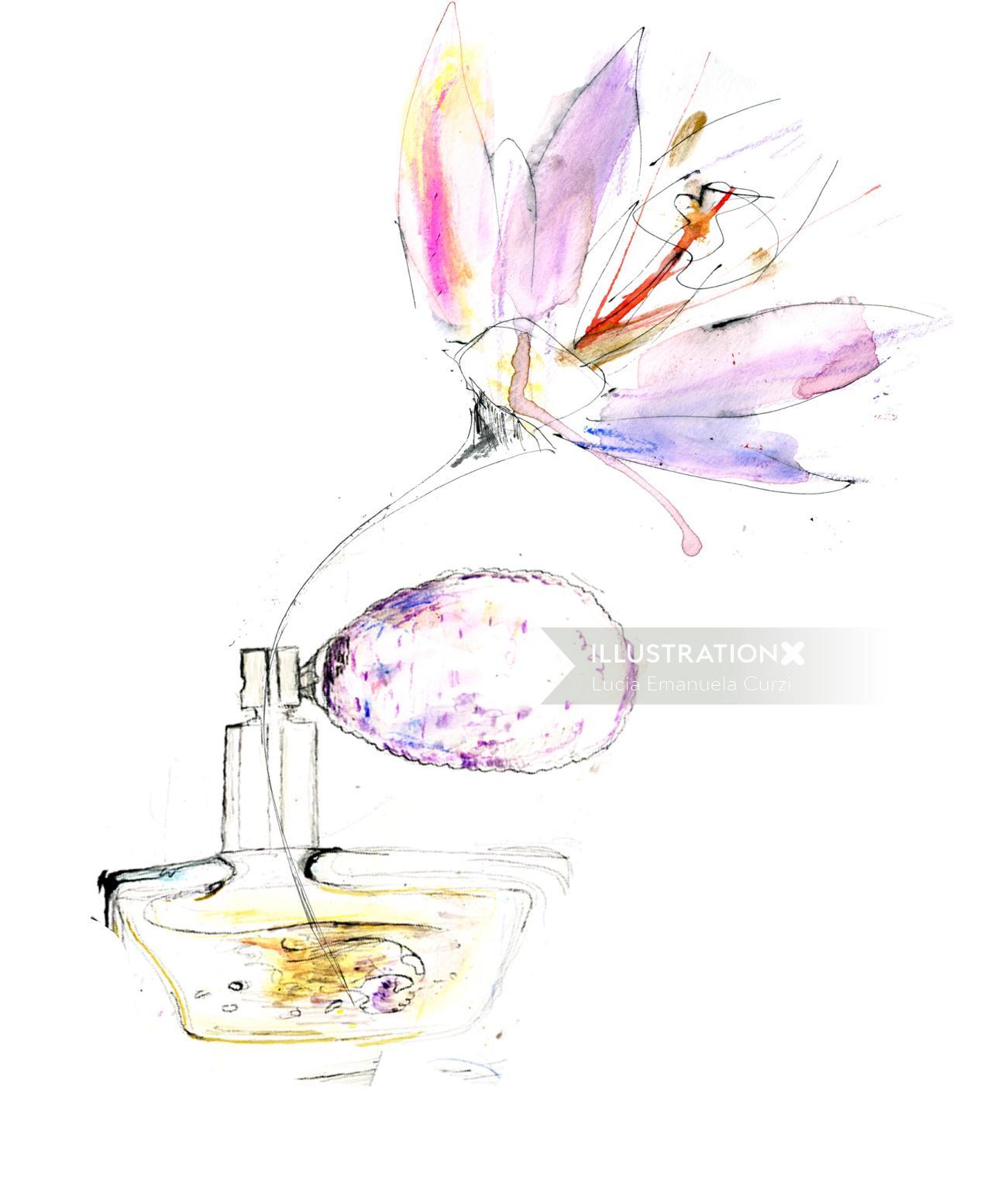 Flower illustration by Lucia Emanuela Curzi