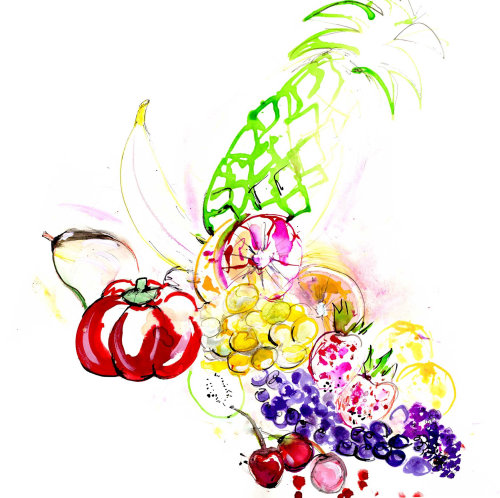 watercolor illustration of fruits