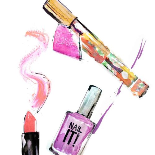 Beauty accessories illustration by Lucia Emanuela Curzi
