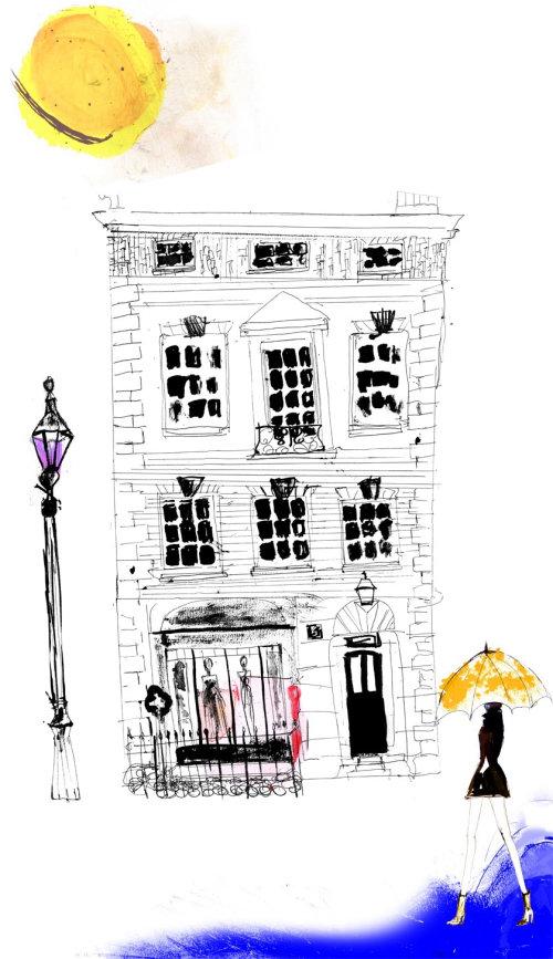 London architectural illustration