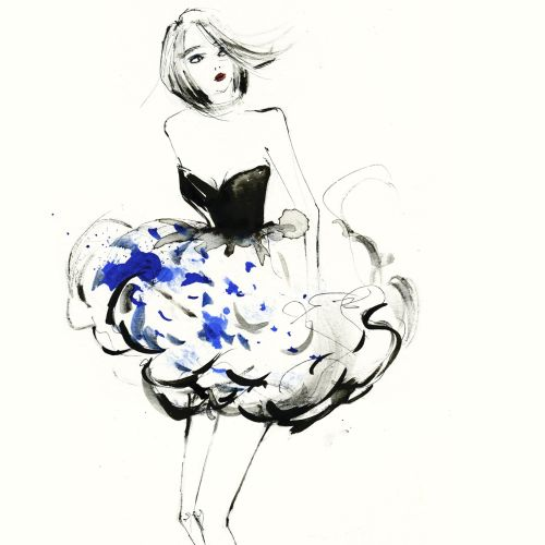Fashion model flower skirt painting
