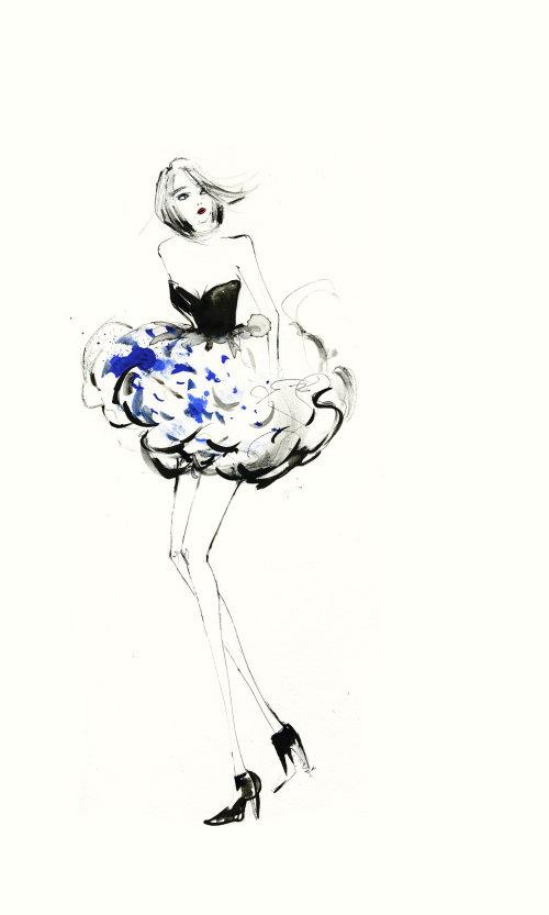 Fashion model flower skirt painting