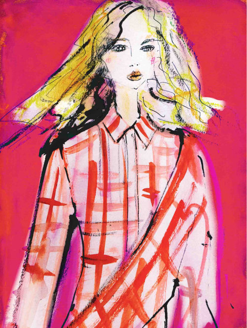 Fashion woman with check shirt