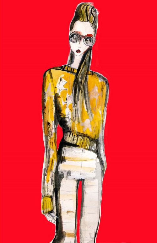 Fashion model on red background