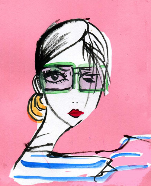 portraits of woman with glasses