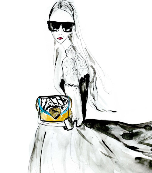 Illustration of slim fashion model with bag and spects