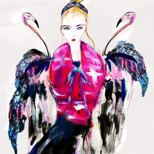Fashion model with swans