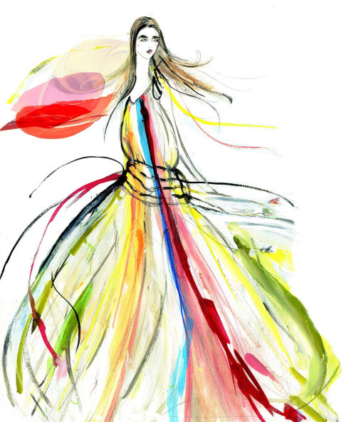 Fashion painting of a model