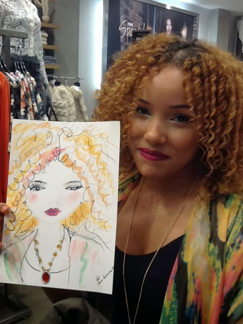live event drawing of woman with curly hair