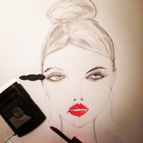 Live Event Drawing model with eye lashes