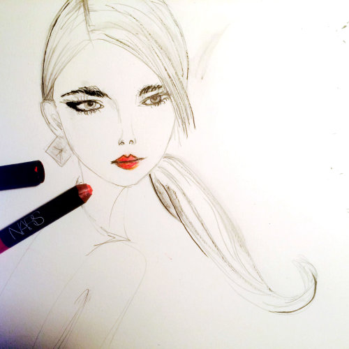 Live Event Drawing model with lipstick