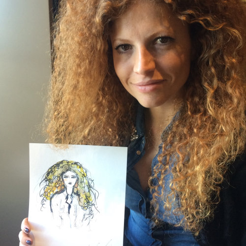live event drawing woman with curly hair
