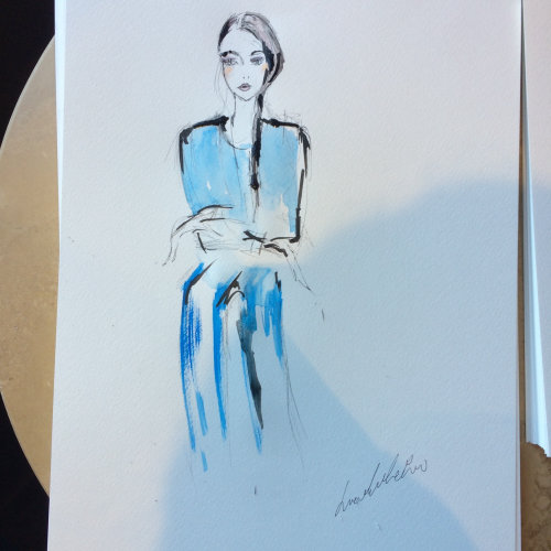 Live Event Drawing girl in blue dress