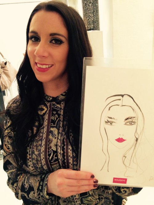 live event drawing woman with lipstick