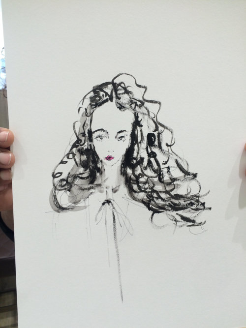live event drawing line art of woman