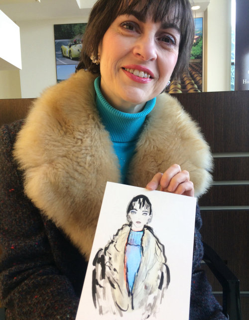 live event drawing of woman with fur coat