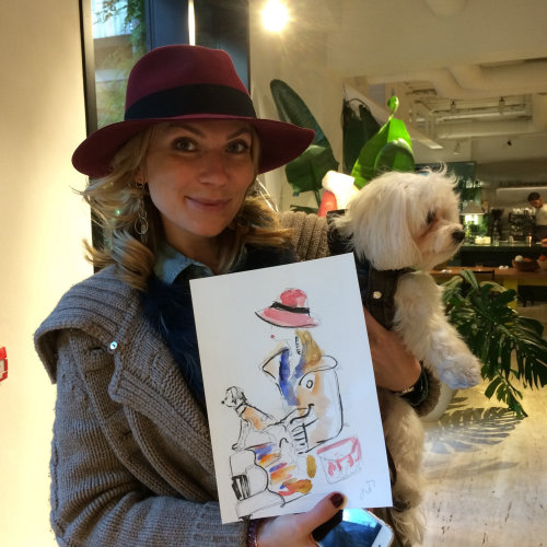 live event drawing of woman with hat